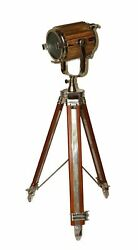 Nautical floor lamp vintage wooden spotlight searchlight with wooden tripod gift $279.99