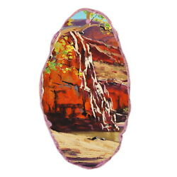 Color Printing oil painting Agate Gemstone Pendant Necklace Y1901 0952