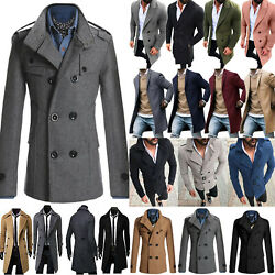 USA Mens Winter Trench Coat Double Breasted Overcoat Long Jacket Outwear Peacoat