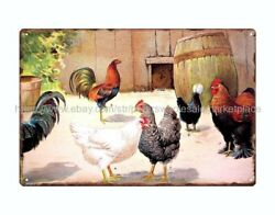 metal retro rustic signs country farm chicken hens metal tin sign $15.75