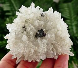 Amazing Quartz with Snow White Calcite and Sphalerite Crystal Mineral Natural