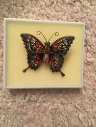 Vintage Multi Colored Gold Tone Butterfly Brooch Pin