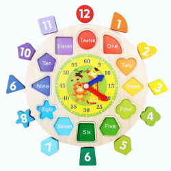 Kids Wooden Puzzle Digital Geometry Cognitive Clock Learn Number Color Baby Toys
