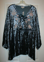 Style amp; Co. Womens 1X Plus BOHO Blue Gray Embroidered Velvet Knit Tunic Top NWT $27.00