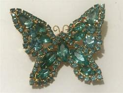 Vintage Aqua Blue Rhinestone Butterfly Brooch Pin Gold Tone Setting Prong Set