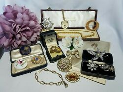 GORGEOUS JOB LOT SIGNED VINTAGE ANTIQUE COSTUME JEWELLERY #8