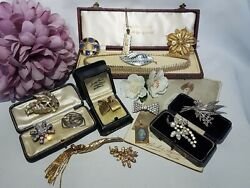 GORGEOUS JOB LOT SIGNED VINTAGE ANTIQUE COSTUME JEWELLERY #6