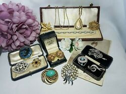 GORGEOUS JOB LOT SIGNED VINTAGE ANTIQUE COSTUME JEWELLERY #5