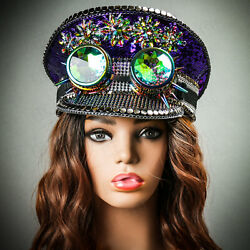 Purple Party Hat Steampunk 3D Goggles Festival Burning Man Captain Top Hat NEW $44.99