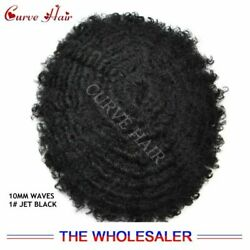 Jet Black Afro Curl Mens Toupee Hairpiece 10MM Africa Waves PU Hair Replacement