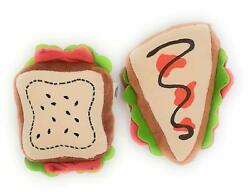 Dog Toys Squeaky Puppy Chew Toy Set 1 Sandwich 1 Pizza Plush Teething Aid $15.16