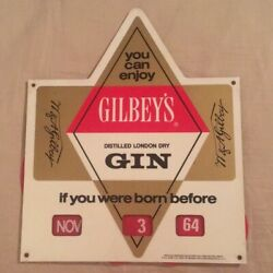 Gilbey's Gin Vintage Born Before This Date Bar Sign c. 1960s Man Cave She Shed
