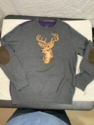 Tommy Hilfiger Mens XL Gray Deer Print Christmas Sweater w LeatherElbow Patches