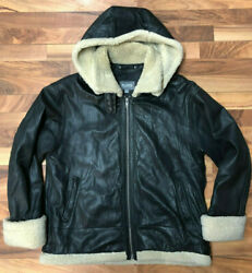 Wilsons B3 Leather Bomber Jacket Men's Large Black Sherpa Lined Flight Style GUC