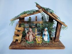 Vintage Wooden CrecheMangerNativity Scene Made in Italy