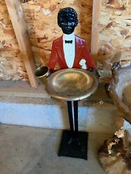 antique cast iron ash try stand black butler figure