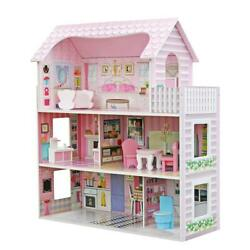 Wooden Kids Doll House With 8 Pcs Miniature Furniture Fits Barbie Dollhouse