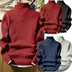 Men Pullover Woolwork Roll Turtle Neck Jumper Wool Blend Knitted Thermal Sweater