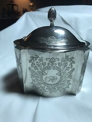 Avon Antique Etched Silver Metal Trinket Box Tarnished Pre owned Velvet Lined $17.95