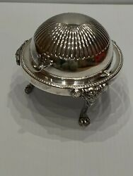 Vintage Silver Butter Butler With Roll Top Lid Hallmarked