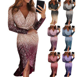 Womens Sequined V Neck Bodycon Sexy Party Cocktail Evening Formal Long Dress