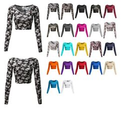 FashionOutfit Women's Floral Prints Lightweight Long Sleeve Crop Top $6.75