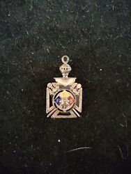 Knights of Pythias - Stone Cross Fob fraternal Agate Glass Skull Vintage $45.00