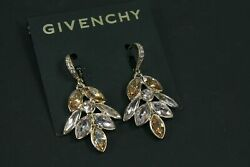 NEW Givenchy earrings gold plated Crystal lever back $23.99