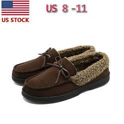 Men's Slippers Moccasins Driving Winter Shoes Fleece Wool Sherpa Lined Loafers