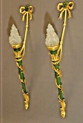 Exceptional Large Pair Of Empire Stile Gilt Bronze  Wall Lights 19th Century