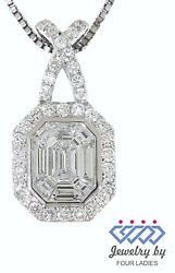 Solid 18K White Gold 0.91CT Real Natural Diamond Emerald Cut Designer Pendant