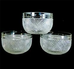 THREE FINELY CUT ANTIQUE GLASS FINGER BOWLS RINSERS ANGLO IRISH GBP 99.99