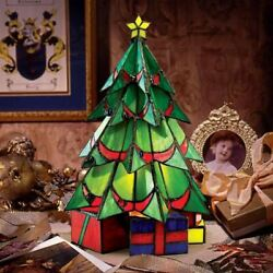 Christmas Tree Stained Glass Lamp Large 16quot; Handmade Illuminated Sculpture $289.94