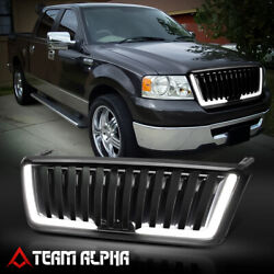 Fits 2004 2008 Ford F150{VERTICAL BAR LED DRL}Black ABS Bumper Grille Vent Grill $124.29