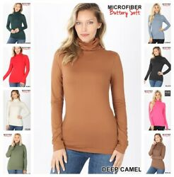 Womens BUTTERLY SOFT Mock Turtleneck Long Sleeve Microfiber Top REG N PLUS S 3X $9.95