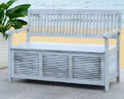 Gray Wood Bench for Patio Garden Yard Indoors Solid Acacia  Storage Seating