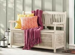 White Storage Seating Bench for Patio Garden Yard Indoors Solid Acacia Wood