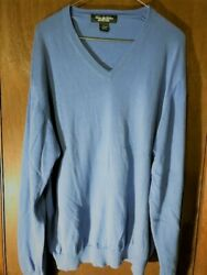 Brooks Brothers Country Club Mens Sea Island Cotton V-Neck Knit Sweater Size L