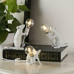 Resin Mouse Desk Lamps Industrial Animal Bedroom Table Light Cafe Decor $18.55