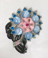 RARE Vintage Flower Glass amp; Rhinestone Pin Brooch $35.00
