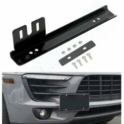 Black Front Bumper License Plate Mount Bracket Relocator Holder Bar Universal