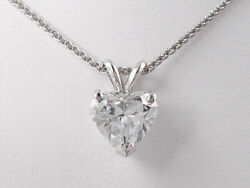 1.59 CT HEART SHAPE LAB GROWN DIAMOND PENDANT AND WHITE GOLD CHAIN D SI1 $4990