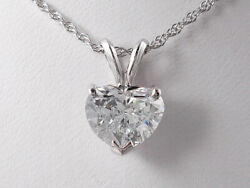2.02 CT HEART SHAPE LAB GROWN DIAMOND PENDANT AND WHITE GOLD CHAIN D SI3 $3990