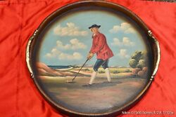 Antique Wooden Butler's Serving Tray. Hand Painted.