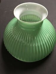 Vintage Apple Green Student Glass Student Hurricane Lamp Shade 10 Inch Fitter $45.00