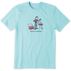 Life Is Good. Mens Crusher Tee Chillin' & Grillin' Beach Blue $23.00
