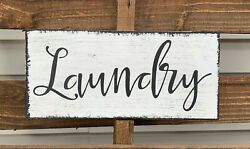 Farmhouse wood sign Laundry Room rustic country family wooden Wall Home Decor $16.99