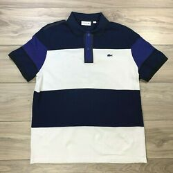 Lacoste Mens Rugby Golf Polo Casual Blue White Shirt Made in France Size XXL 2XL