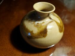 Small Tan and Brown Colored Vase