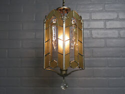 Vintage Antique Art Deco Silverplate Small Chandelier Light Amber Leaded Glass $295.00